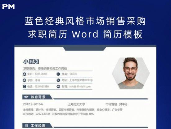 蓝色经典风格市场销售采购求职简历 Word 简历模板